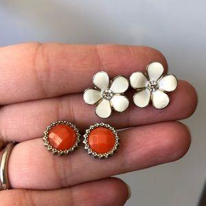 Jewelry - 2 pair-orange starburst and cream flower earrings